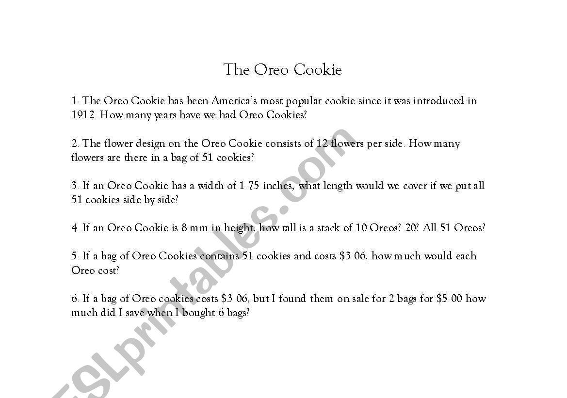 English Worksheets The Oreo Cookie Math Worksheet