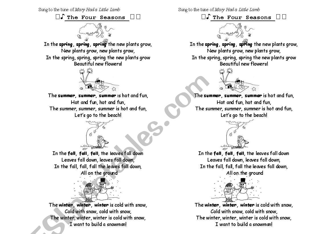 English Worksheets The Four Seasons Song