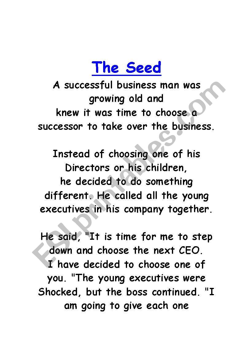 English Worksheets The Seed Of Honesty