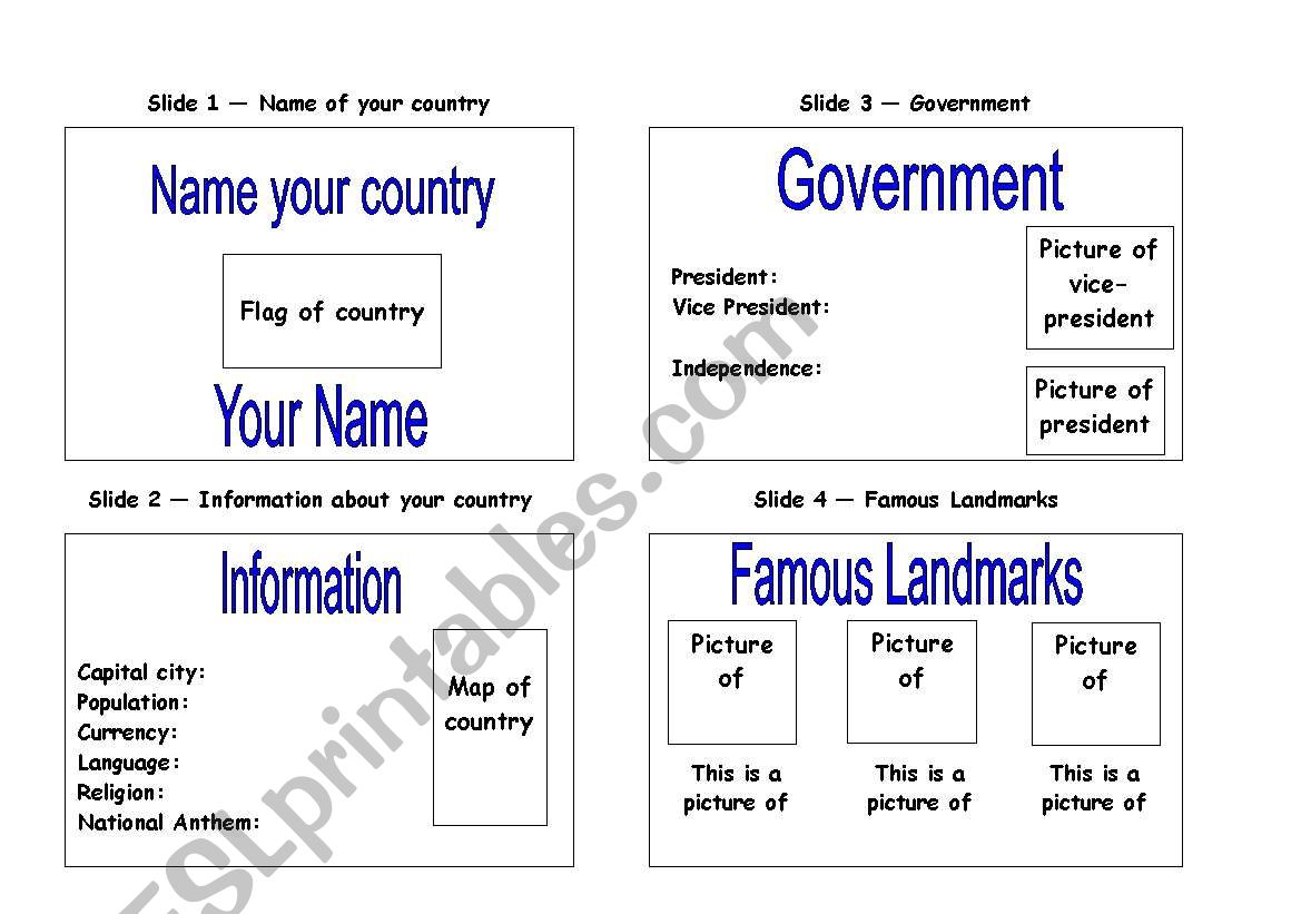 Create A Powerpoint About Your Country