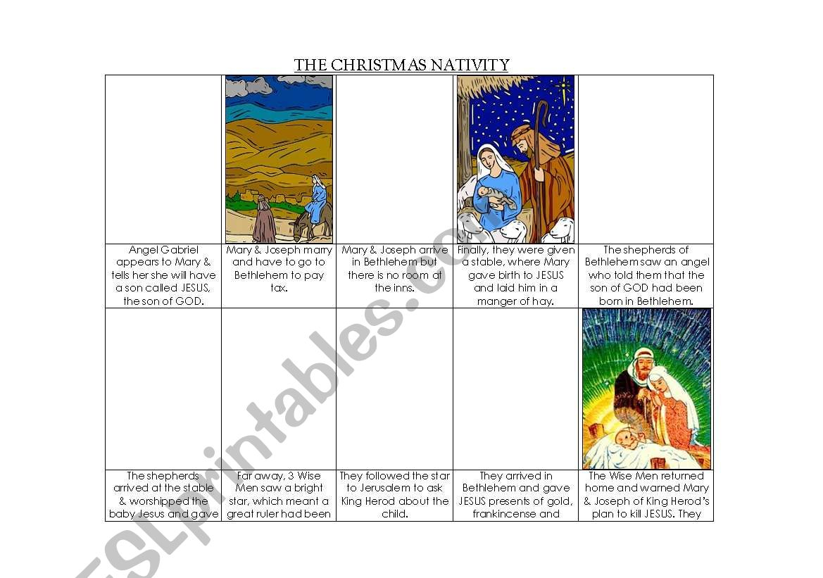 English Worksheets Nativity Comic Strip