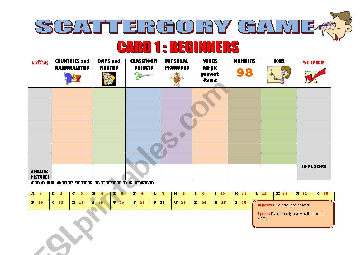 Scattergory Game Playing Cards 3 Pages 3 Levels