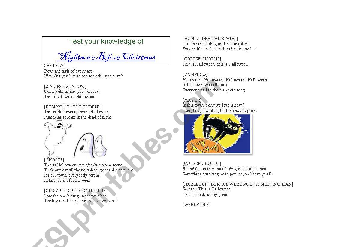 English Worksheets Nightmare Before Christmas Quiz