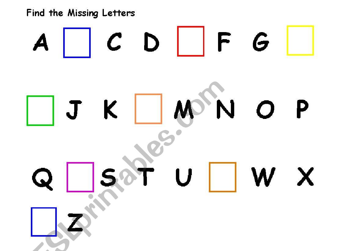 English Worksheets Find The Missing Letters