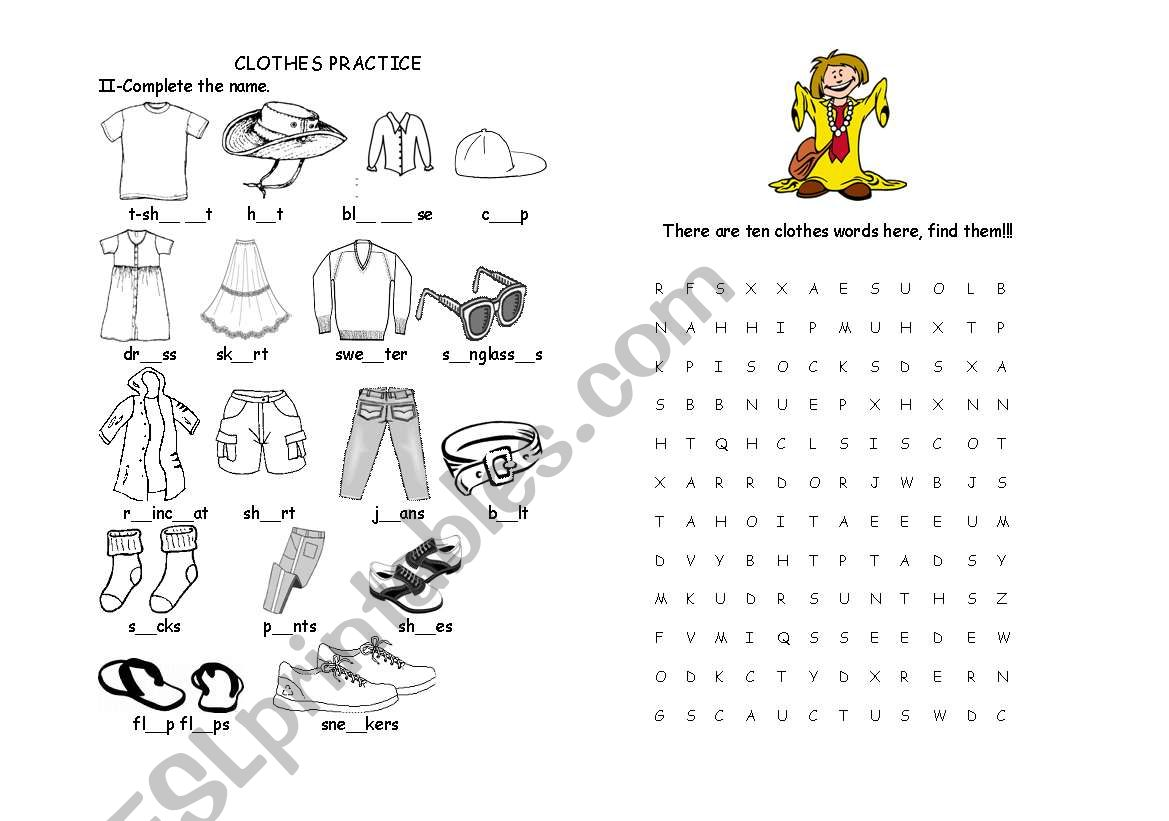 Clothes Vocabulary Worksheet 2