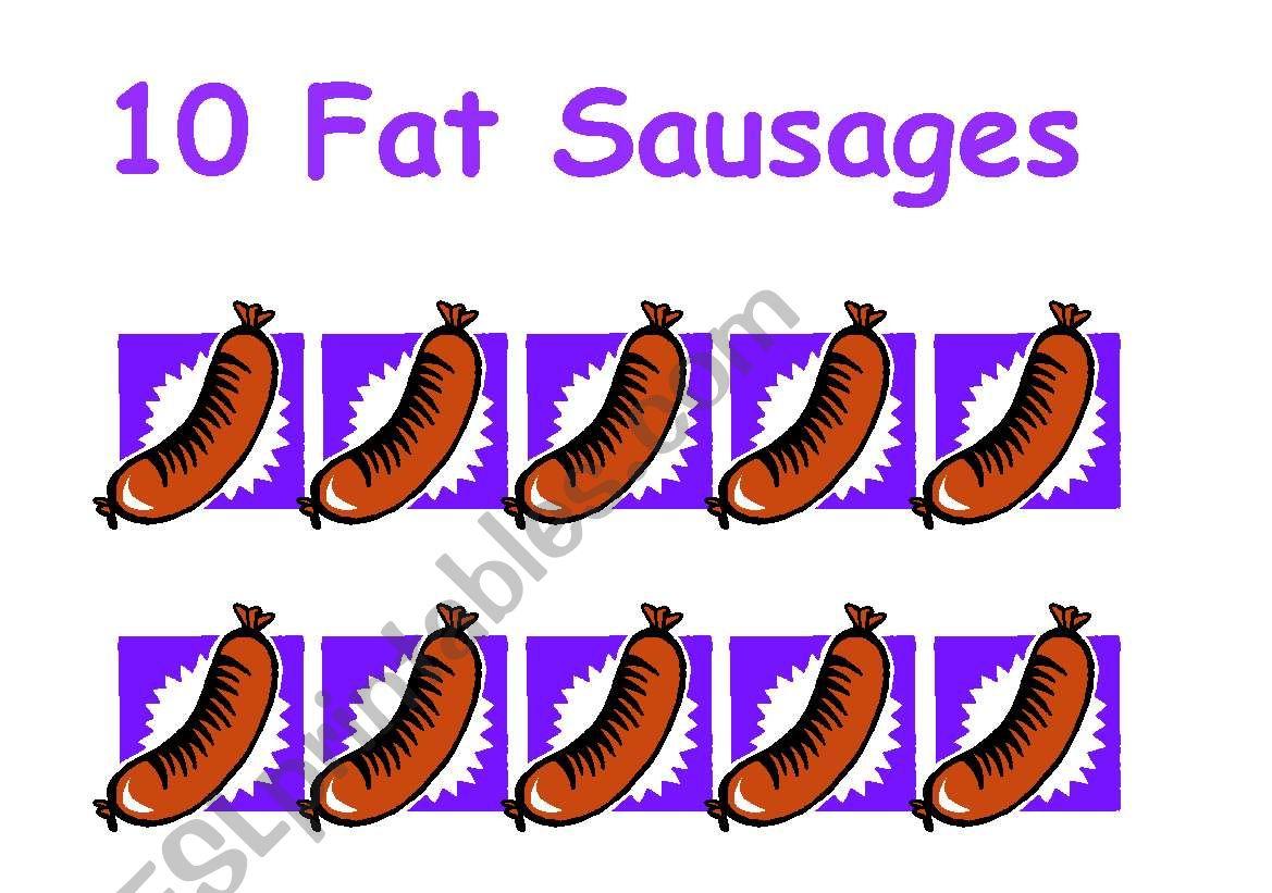 English Worksheets Ten Fat Sausages