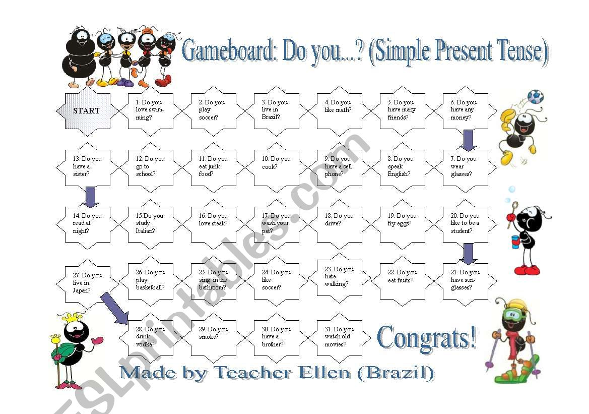 Gameboard Do You Simple Present Tense