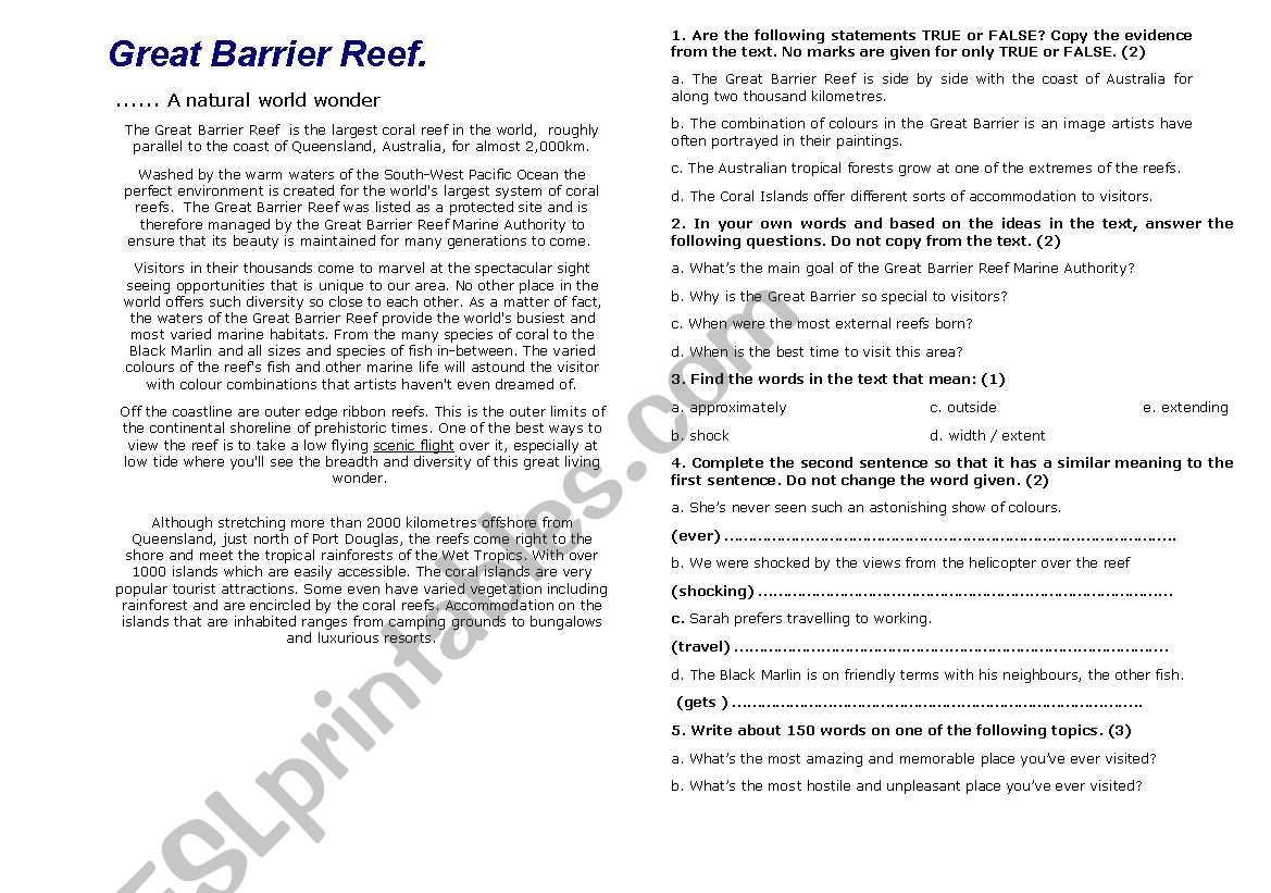 English Worksheets The Great Barrier Reef