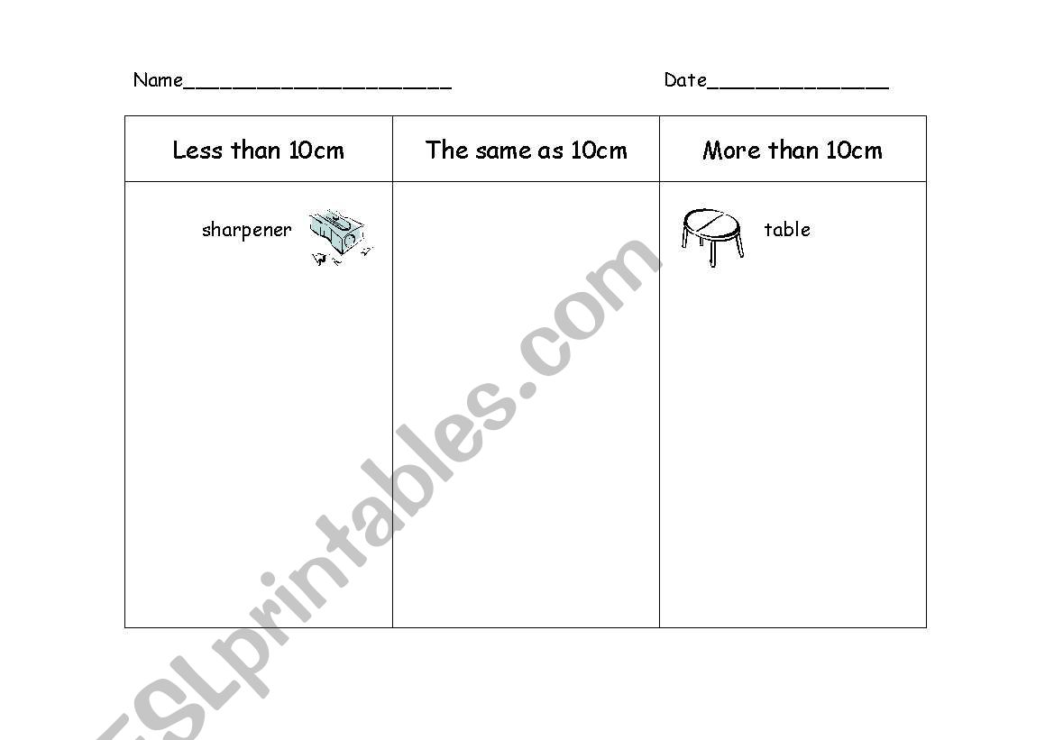 English Worksheets Measurement More Or Less Than 10cm