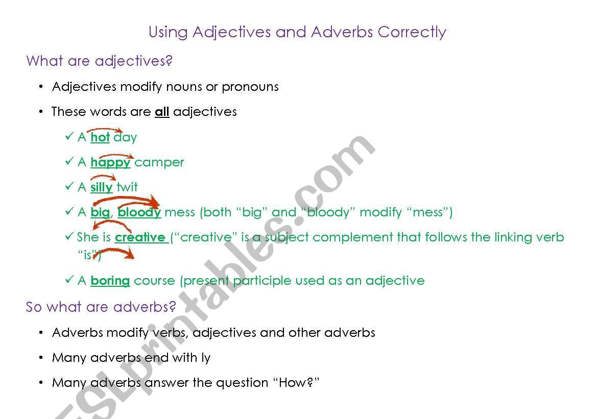 English Worksheets Using Adjectives And Adverbs Correctly
