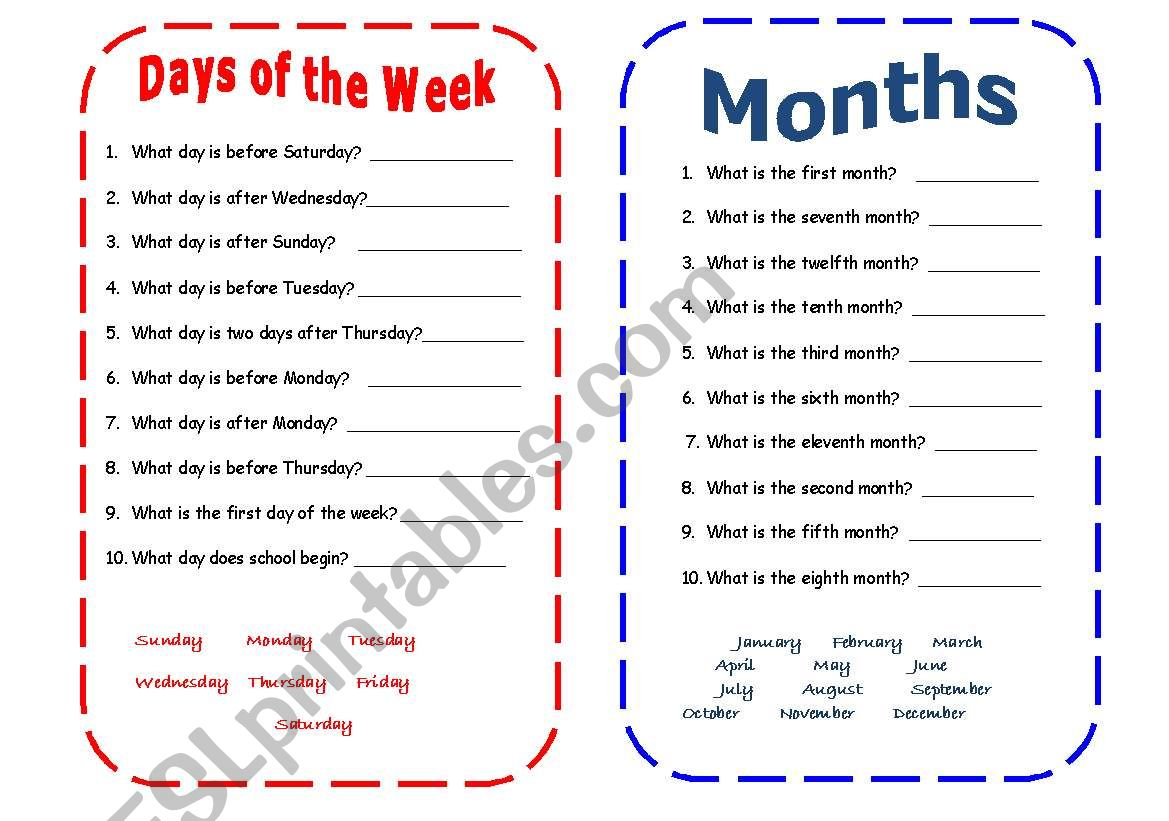 Days Of The Week And Months