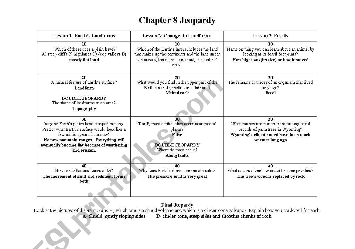 English Worksheets Jeopardy Game Landforms And Fossils