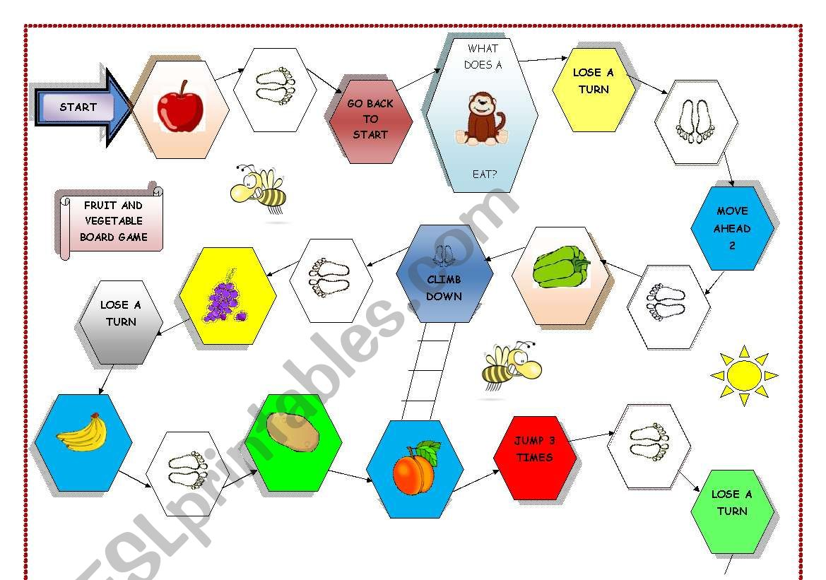 English Worksheets Board Game Fruit And Vegetable Part 1