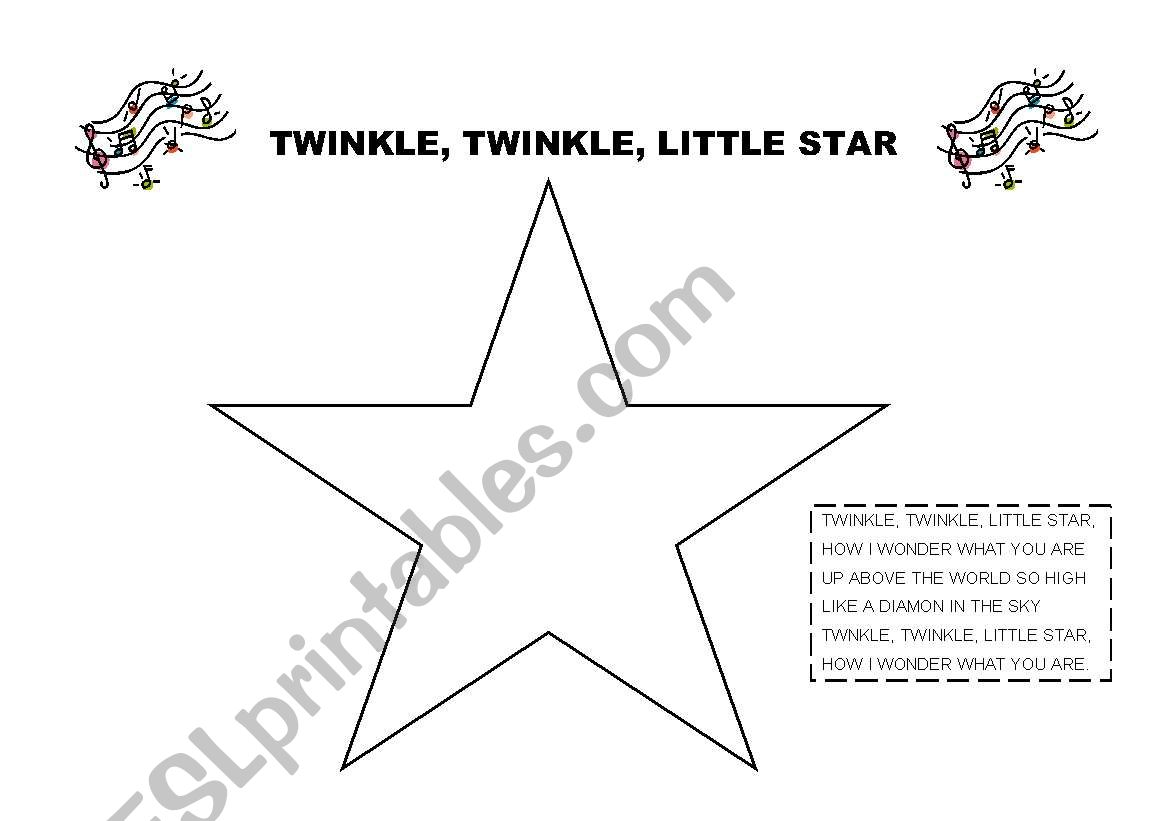 English Worksheets Twinkle Twinkle Little Star