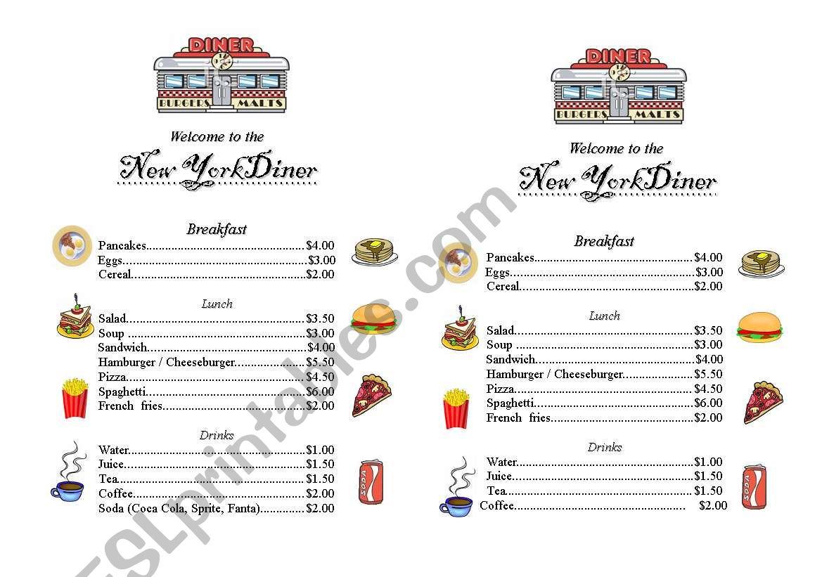 New York Diner Menu