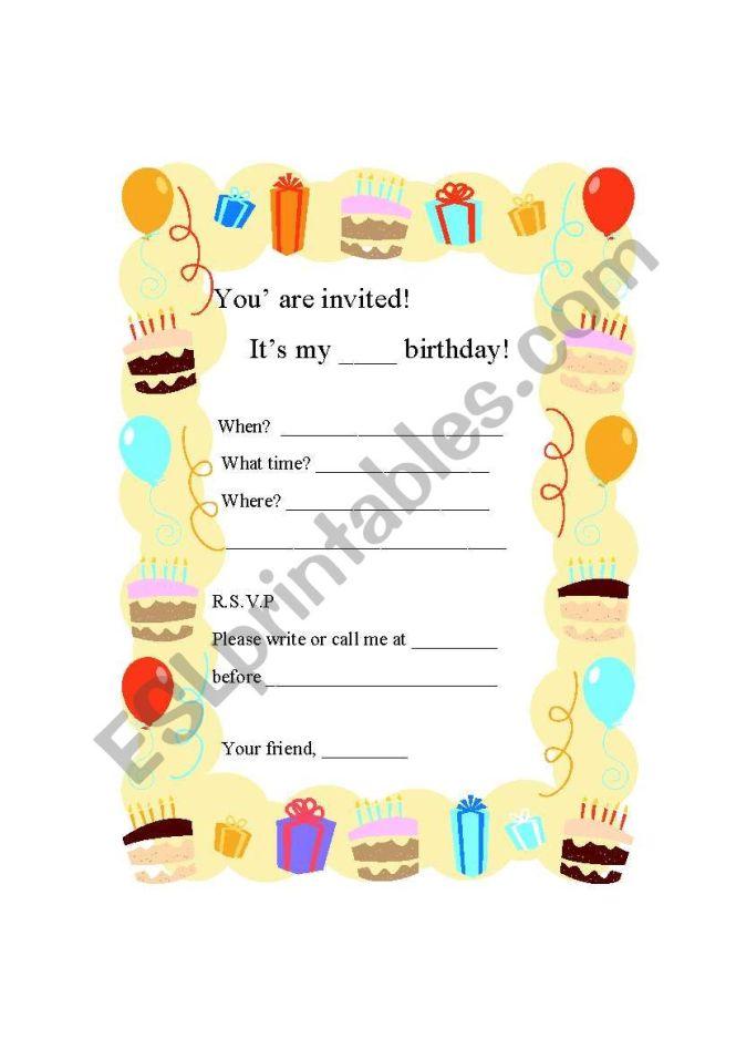 Writing A Birthday Party Invitation Card Esl Worksheet By