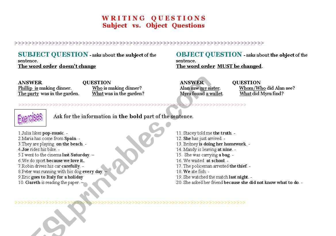 Subject Questions Worksheet