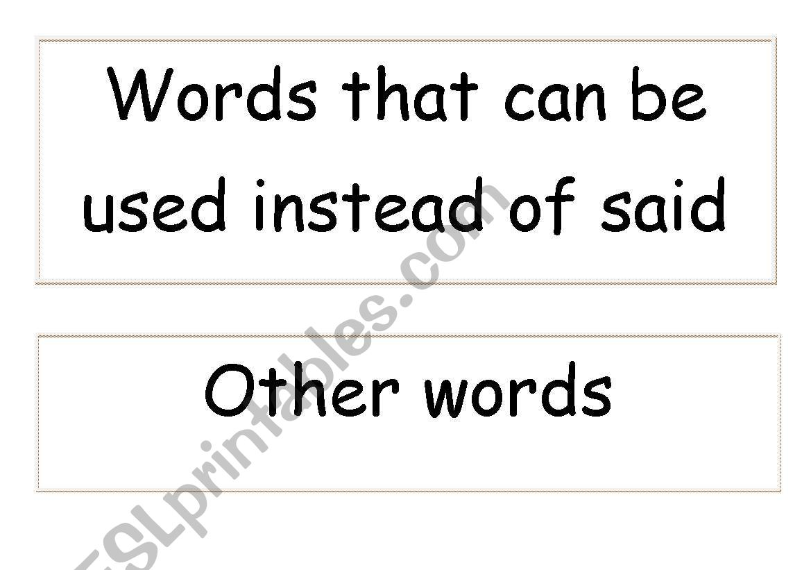 English Worksheets Words To Use Other Than Said