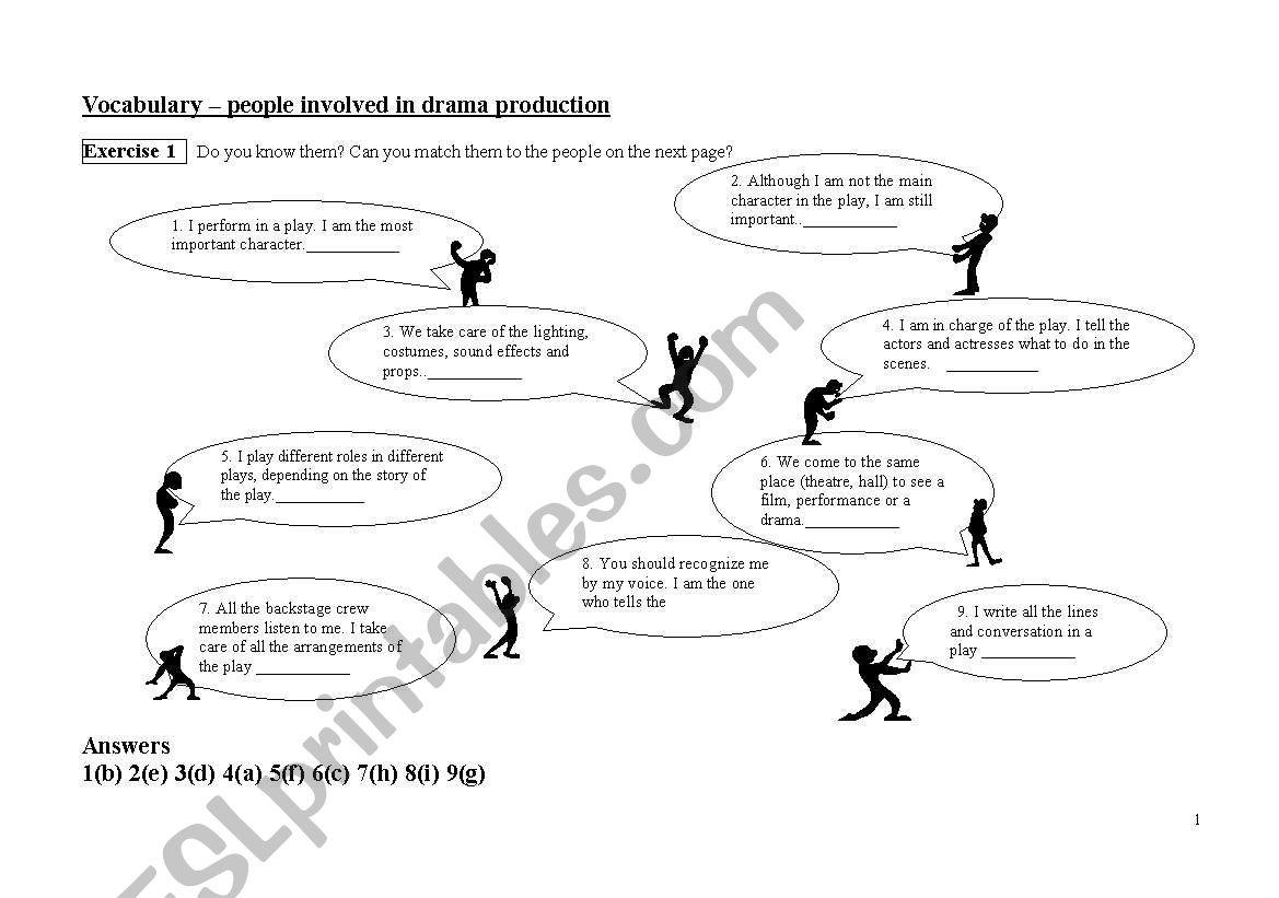English Worksheets Drama Vocabulary
