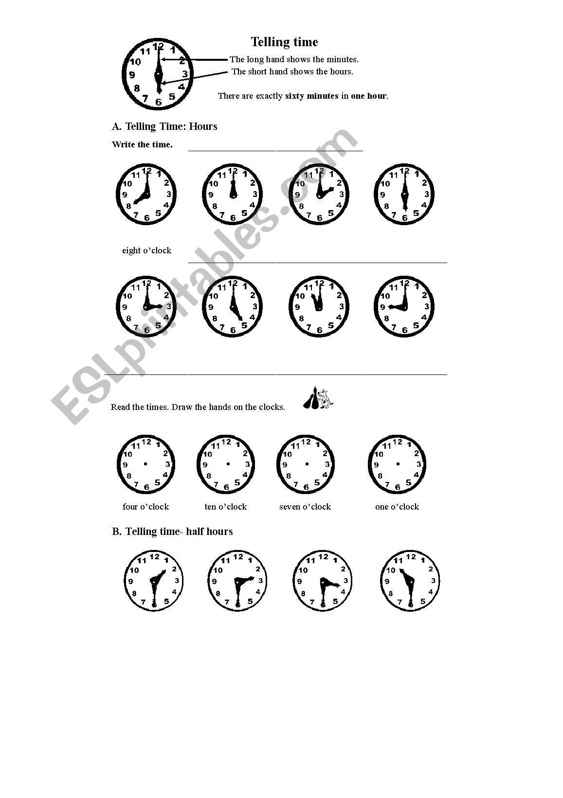 English Worksheets Telling Time