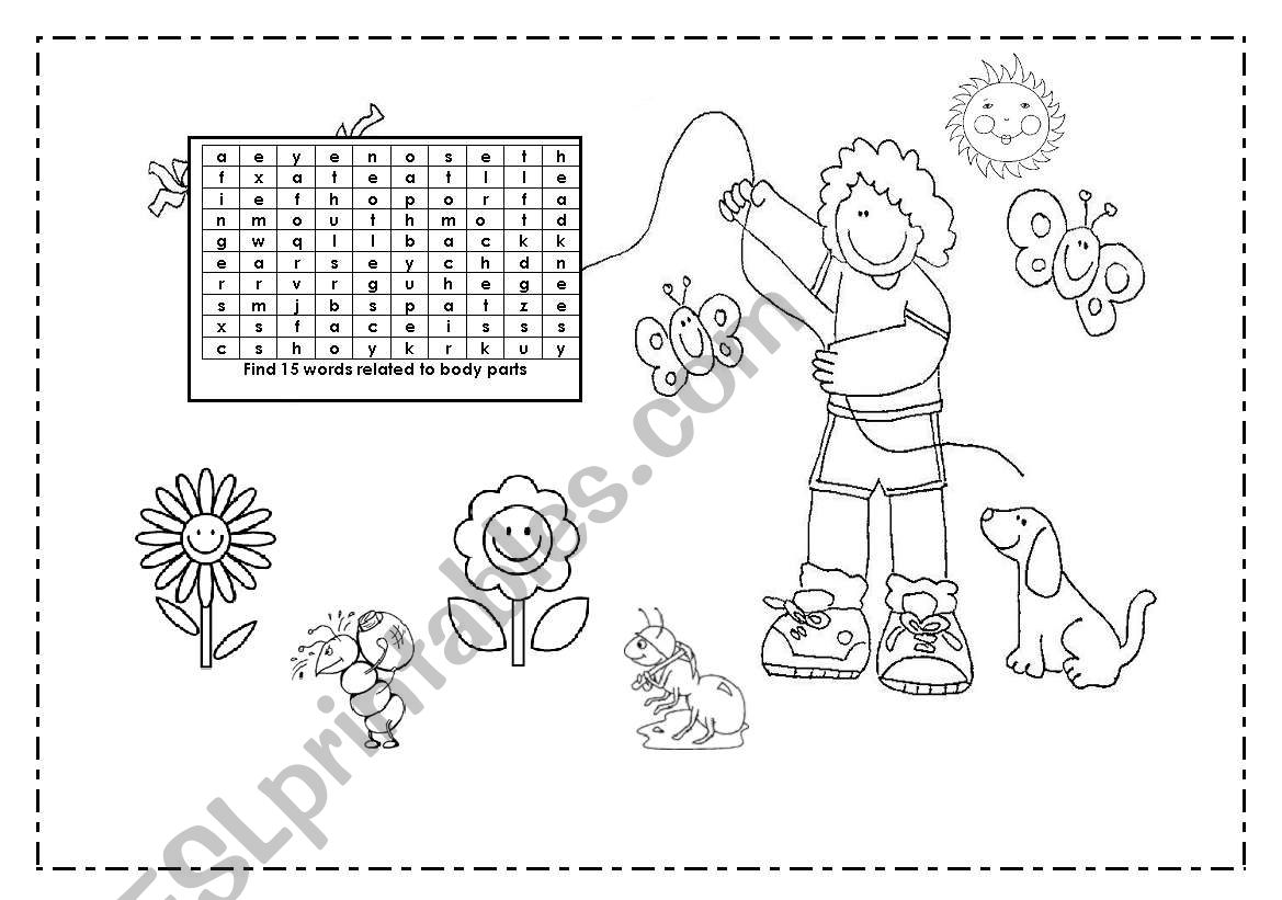 English Worksheets Body Parts Puzzle