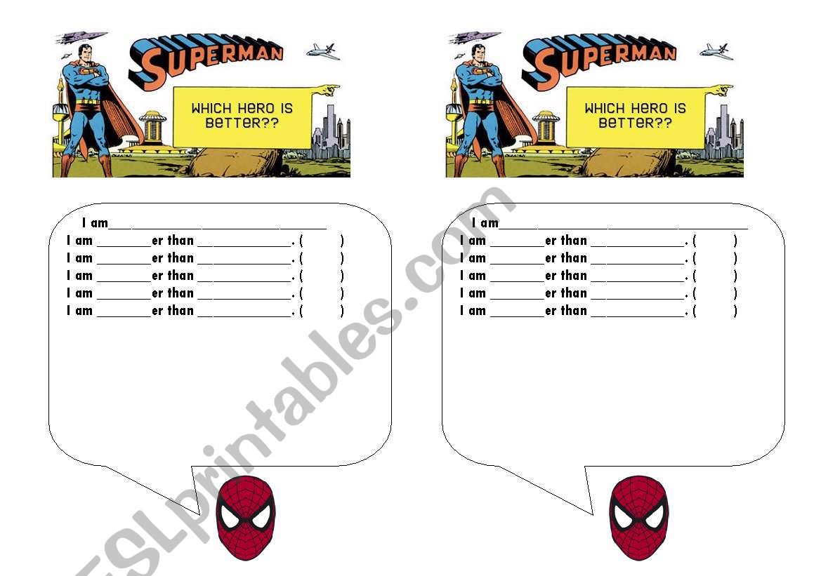English Worksheets Superhero Comparatives