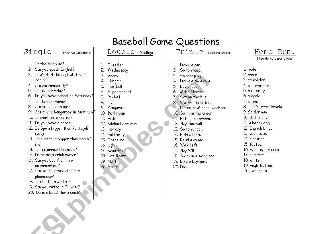 English Worksheets Baseball Game Card