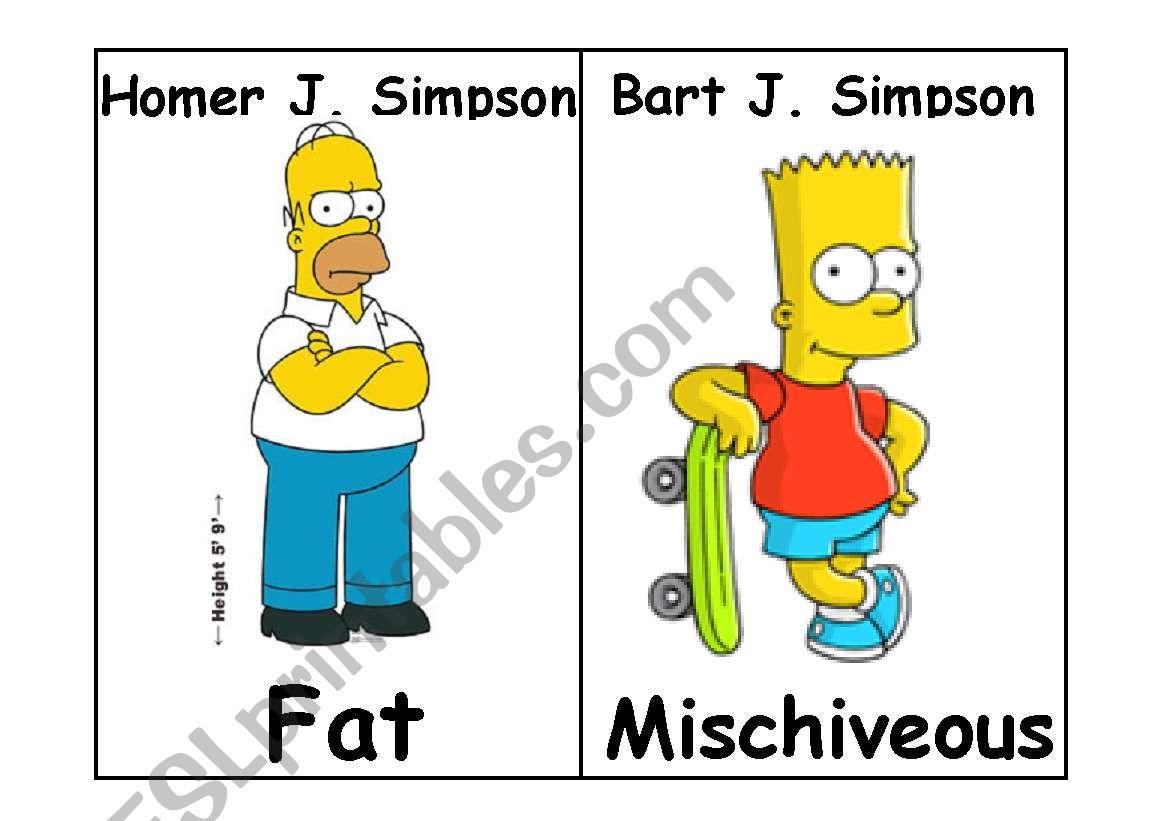 Simpson Adjectives Flashcards