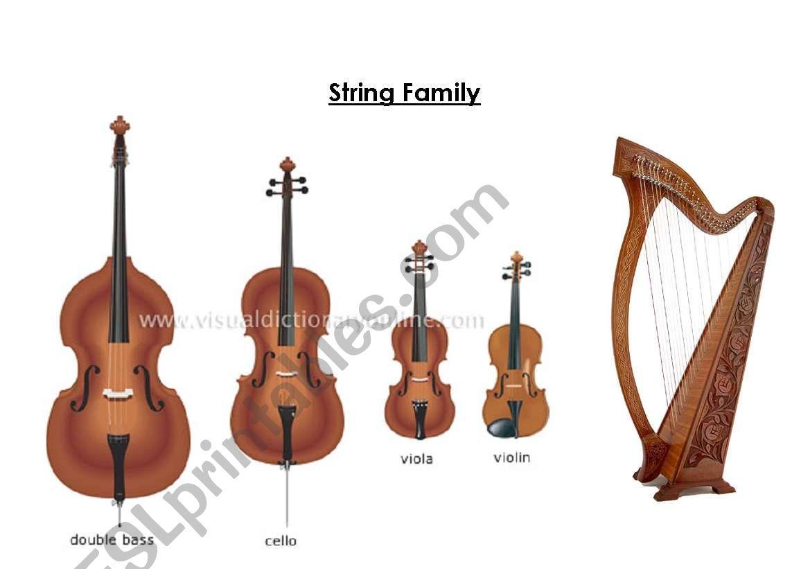 English Worksheets Musical Instruments
