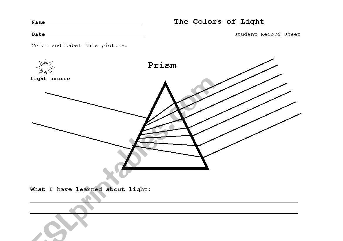 English Worksheets Prism The Color Of Light