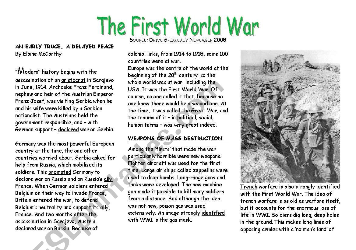 Topic The First World War