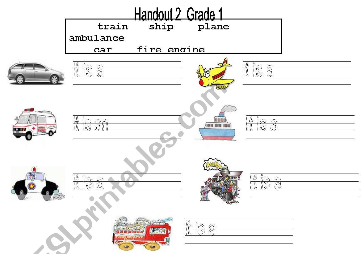 English Worksheets Transportation