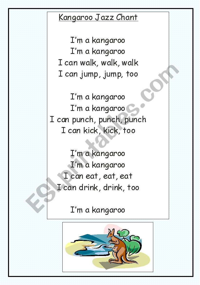 English Worksheets Kangaroo Jazz Chant