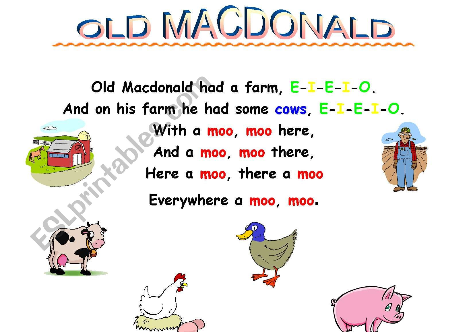 Old Macdonald Songboard