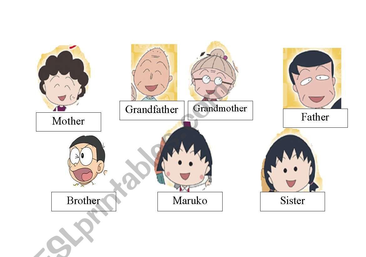 English Worksheets Maruko S Family