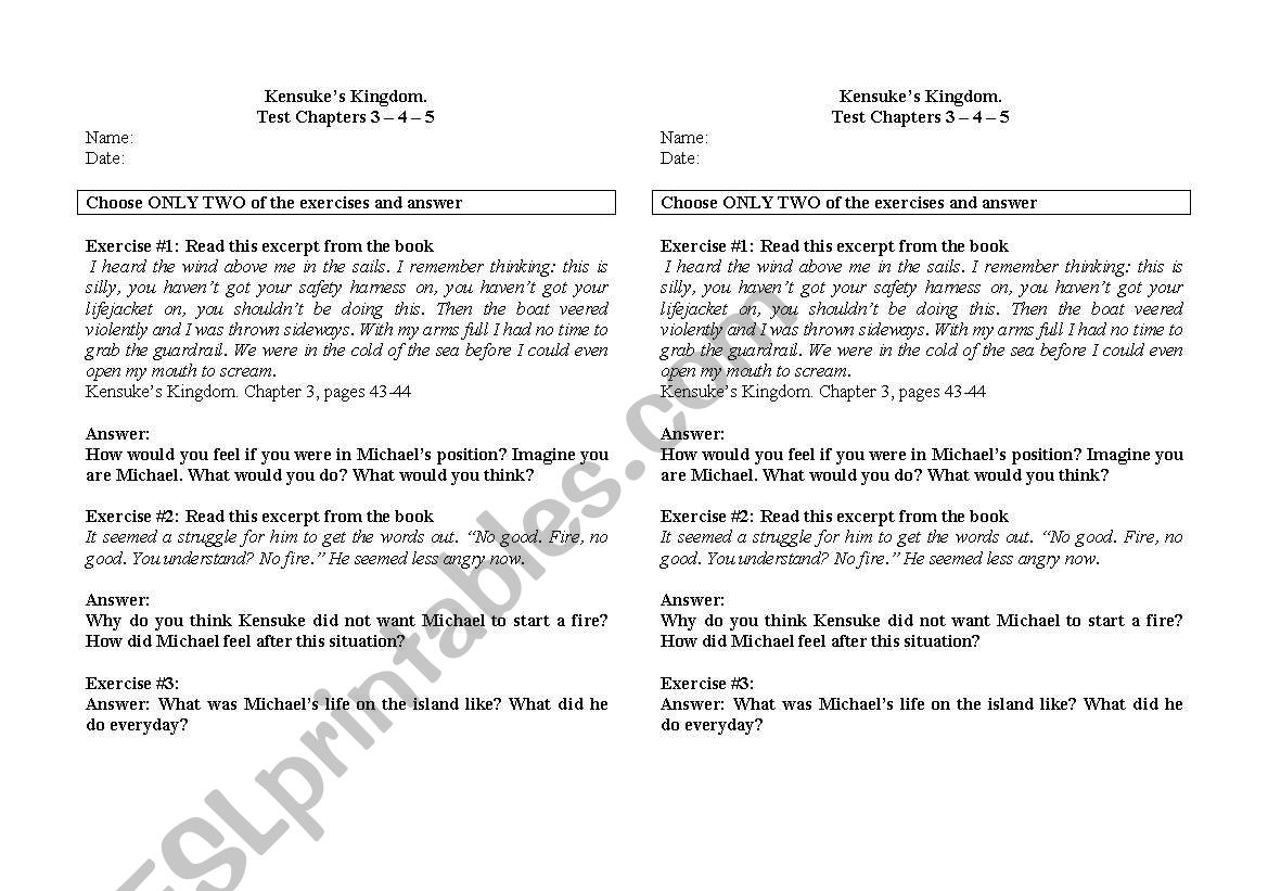 English Worksheets Kensukes Kingdom Test On Chapters 3 4 5