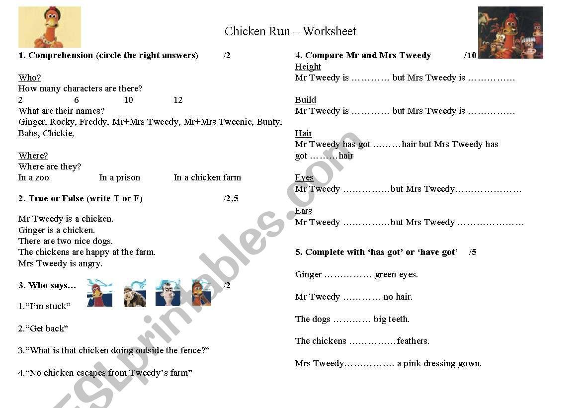 Chicken Run Worksheet