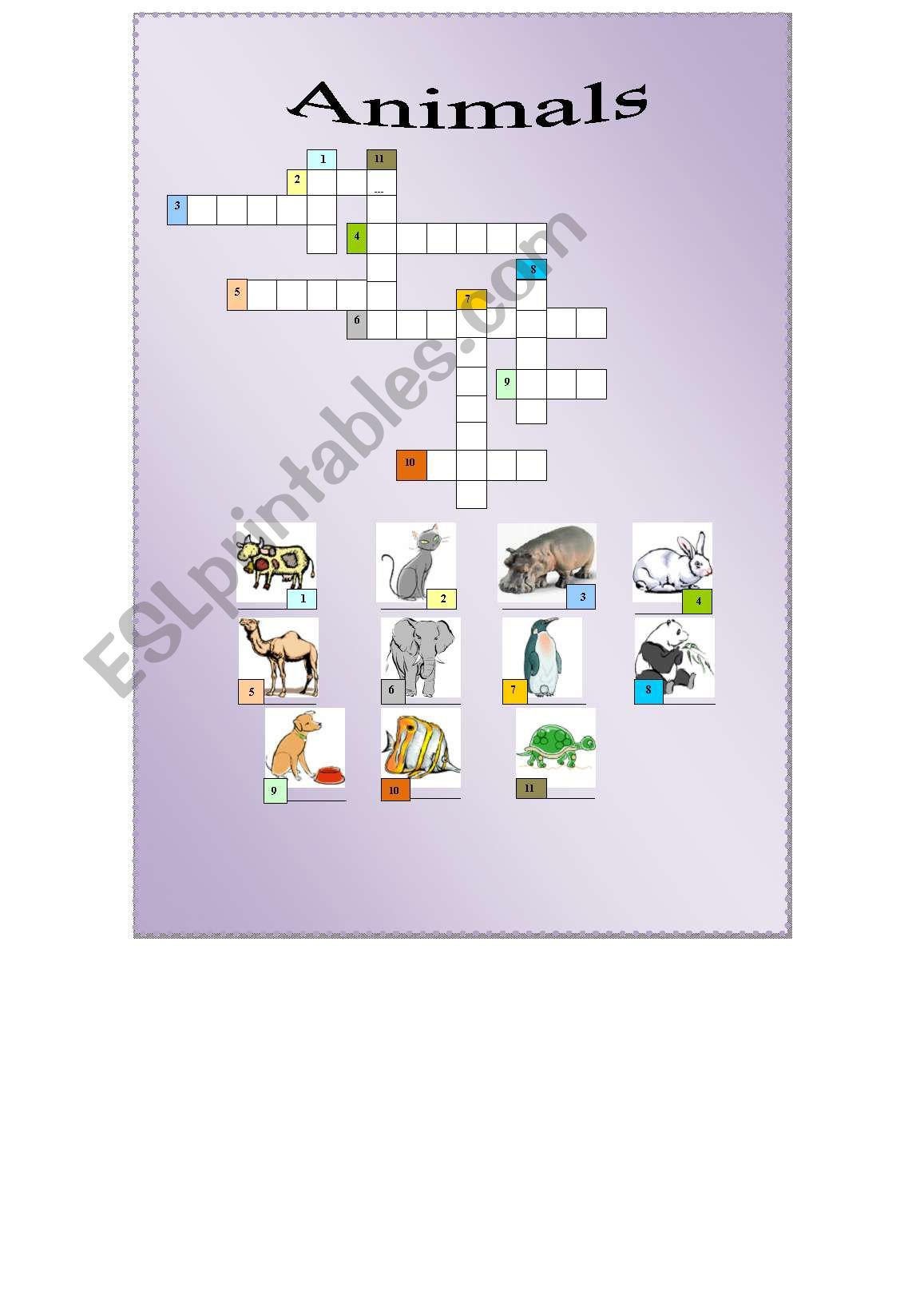 English Worksheets Crossword Animals