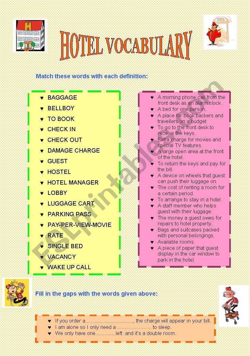Hotel Vocabulary Exercises