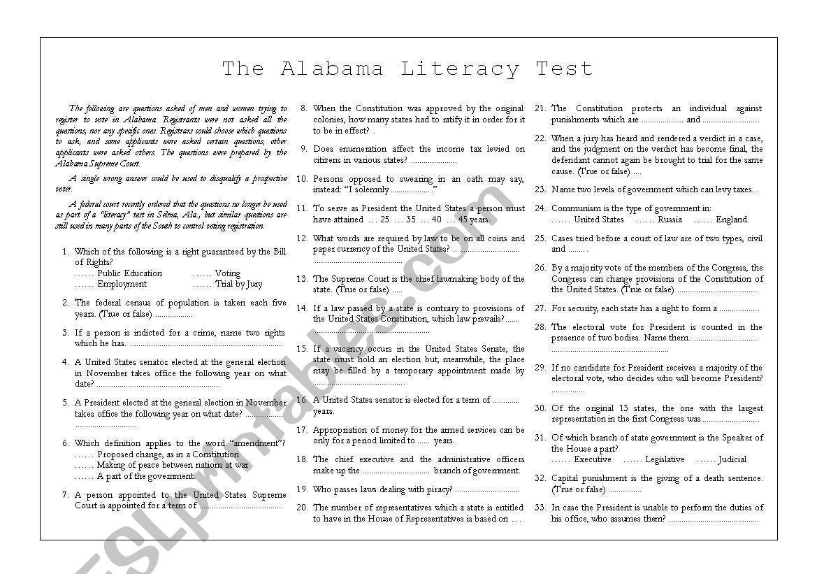 Alabama Literacy Test