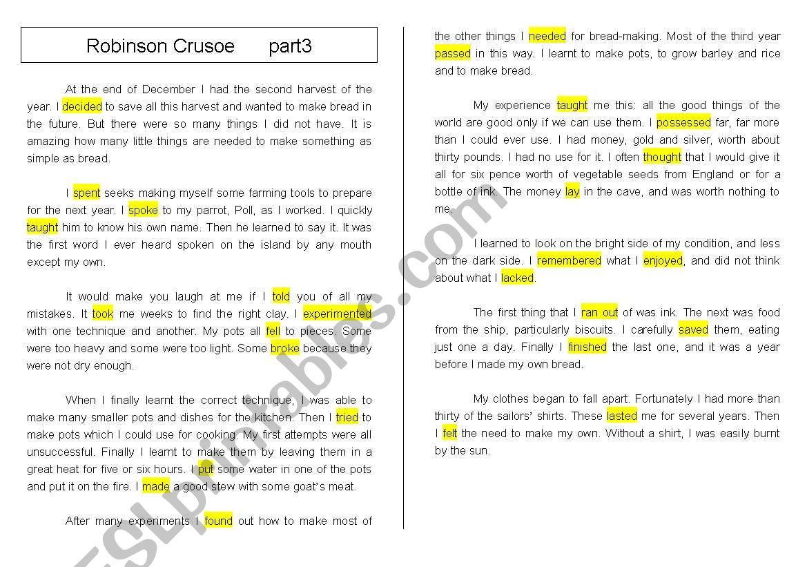 Reading Robinson Crusoe Part3 Grammar Past Tense Practice