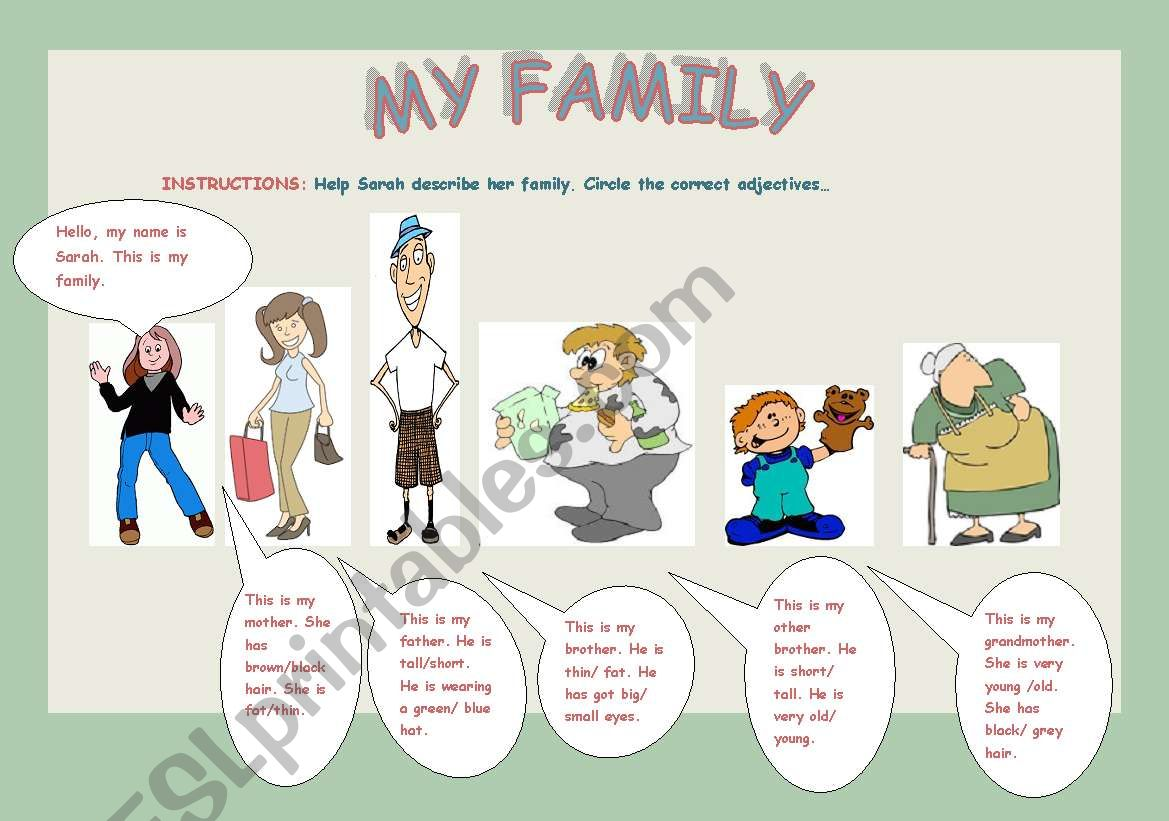 Adjectives My Family