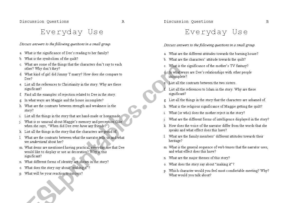 English Worksheets Everyday Use