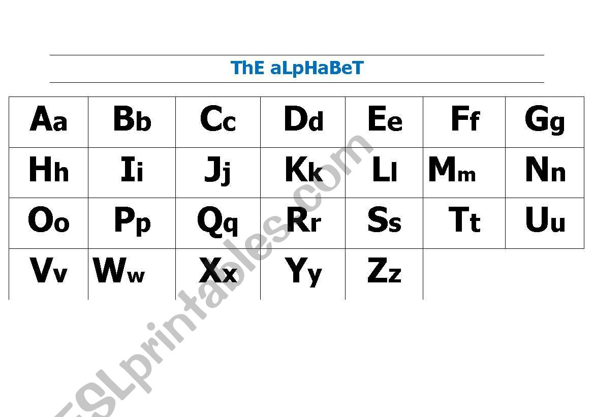English Worksheets Large Alphabet Chart