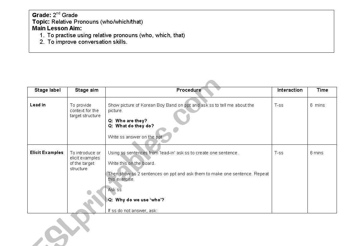 English Worksheets Relative Pronouns Lesson Plan