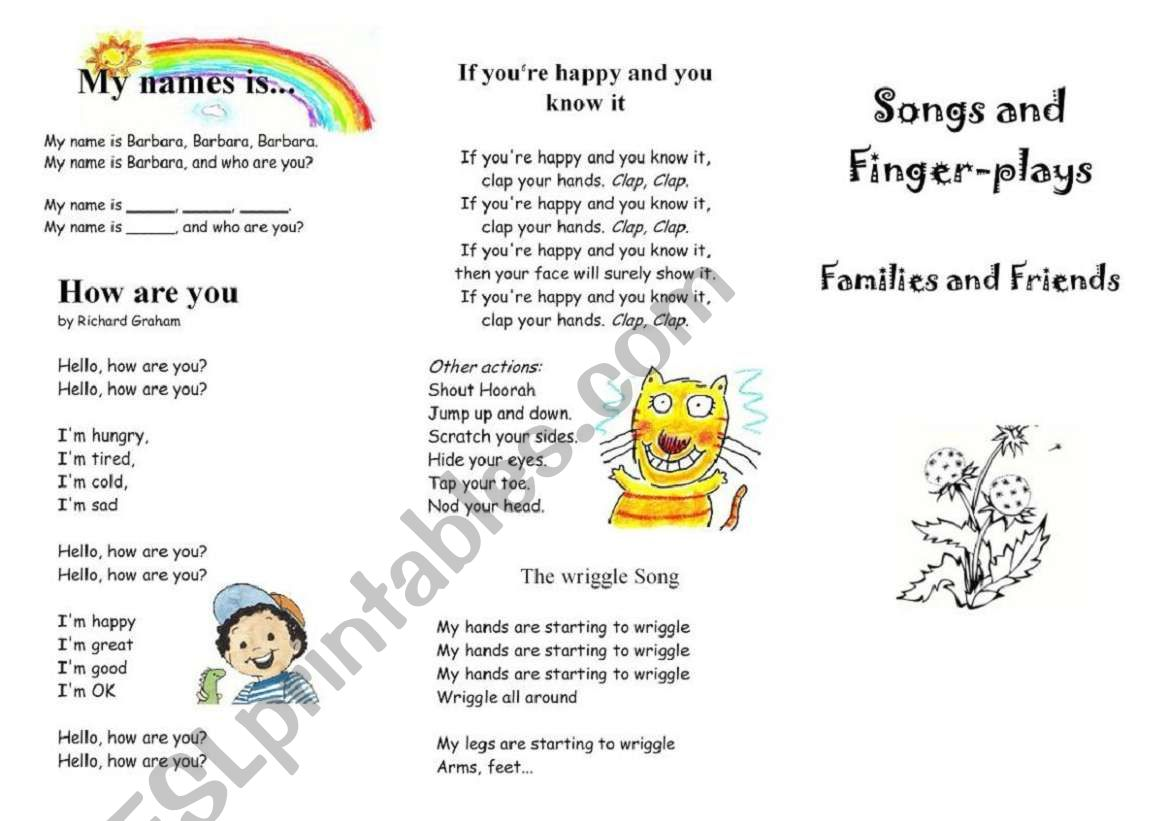 Songs And Finger Plays Families And Friends