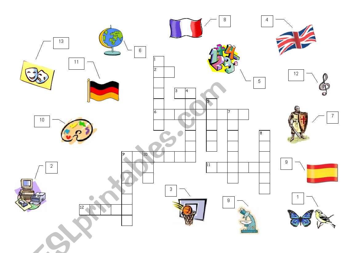 School Subjects Crossword