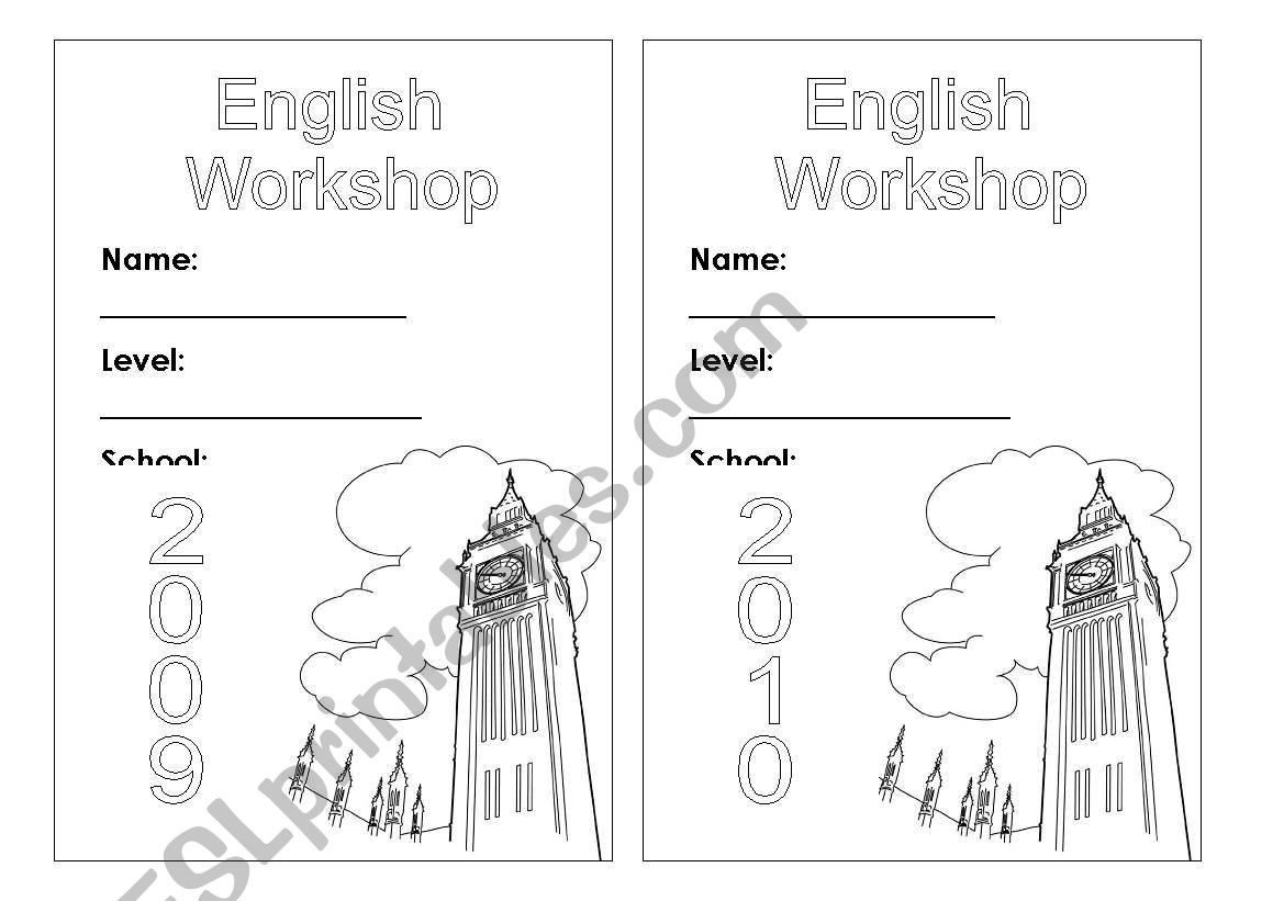 English Worksheets Copybook Cover