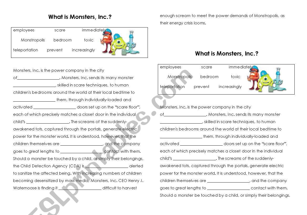 Monsters Inc Cloze Activity