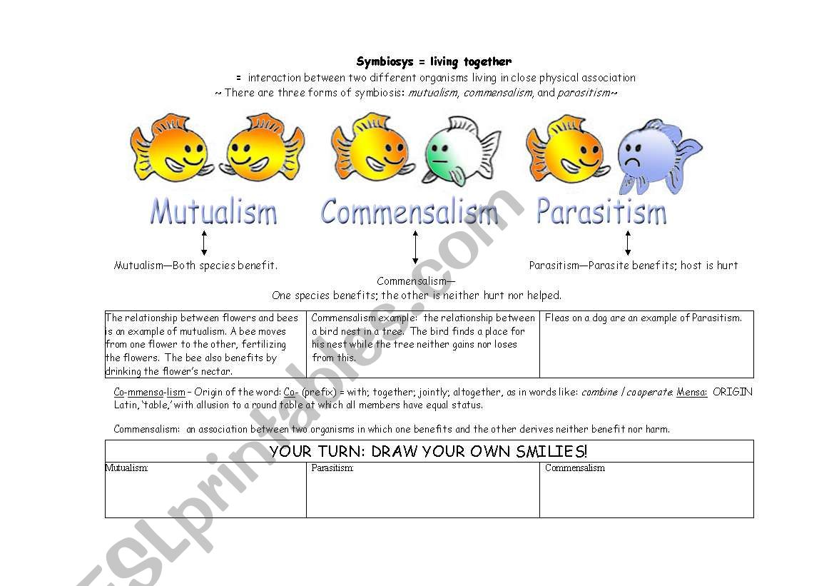 English Worksheets Symbiosis Science Made Simple